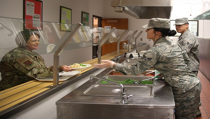 Services Airmen prepare and serve lunch